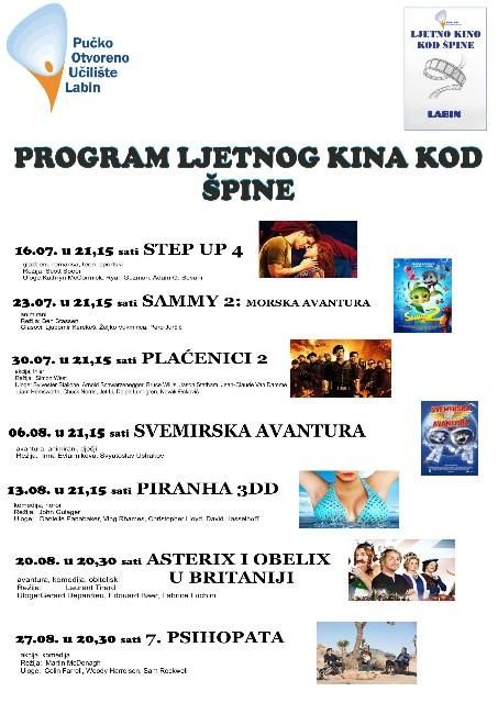 Program kino predstava Ljetnog kina kod Špine