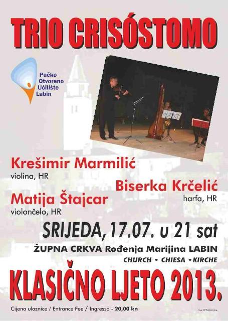 Klasično ljeto: koncert trio Crisóstomo u srijedu u labinskoj župnoj crkvi