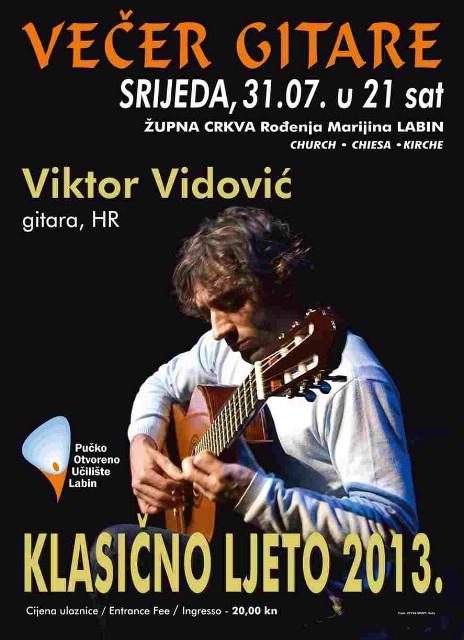 Klasično ljeto: U srijedu večer gitare s Viktorom Vidovićem