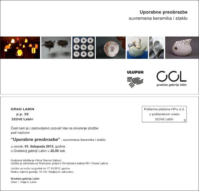 U labinskoj Gradskoj galeriji selektirana izložba suvremene keramike i stakla `Uporabne preobrazbe`