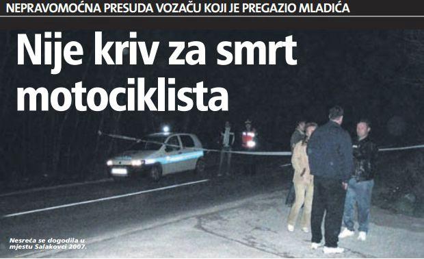 Kristijan Rajković  (39) oslobođen krivnje za smrt motociklista Vedrana Česnika