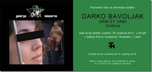 "`Urbi et Orbi` Darka Bavoljaka u Galeriji ""Lamparna"""