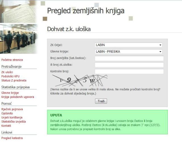 Otvaranje zemljišne knjige za novoformiranu katastarsku općinu Labin – Presika