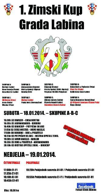Drugi vikend turnira 1. Zimski Kup Grada Labina, futsal krema u Labinu!