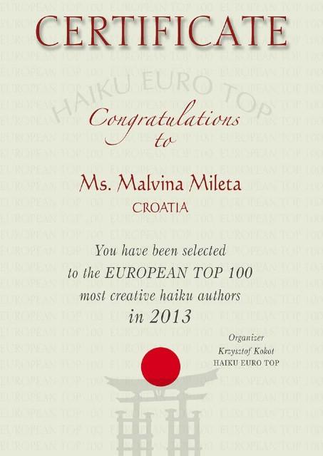Malvina Mileta među top 100 najkreativnijih haiku autora Europe za 2013. godinu