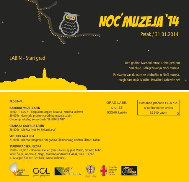 Labin prvi put sudjeluje u obilježavanju Noći Muzeja 31.1.2014.
