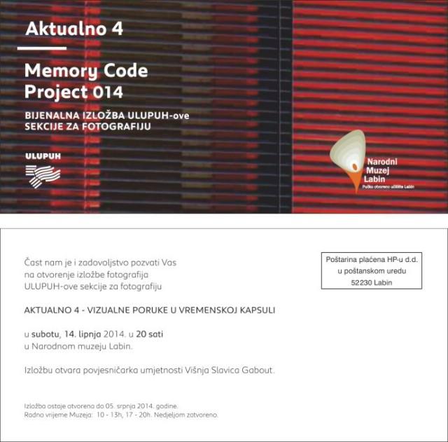 Izložba AKTUALNO 4  - Memory Code Project 014 u Narodnom Muzeju Labin
