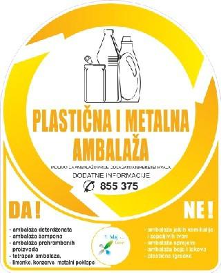 Odvoz plastične, metalne i staklene ambalaže – žute i zelene vrećice - utorak 12.8.2014.