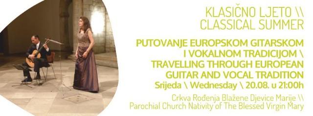 Klasično ljeto Labin: `Putovanje europskom gitarskom i vokalnom tradicijom` 20. 08. 2014. @ Crkva rođenja Blažene djevice Marije Labin