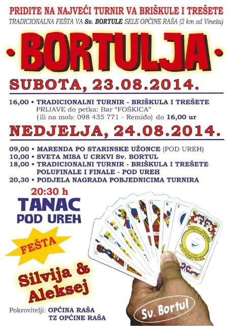Sveti Bortul: Bortulja 2014. - najveći turnir va briškule i tršete & Marenda po starinski 23. i 24. 08. 2014.