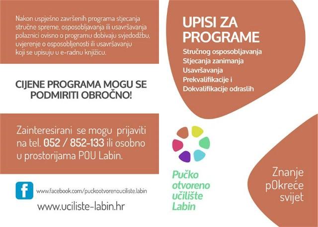 U tijeku upisi u programe obrazovanja odraslih u Pučkom otvorenom učilištu Labin