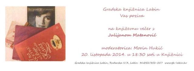 Književna večer s Julijanom Matanović 20. 10. 2014. u Gradskoj knjižnici Labin