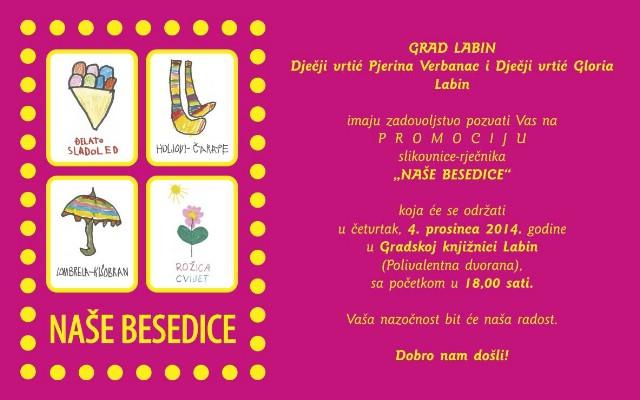 Promocija slikovnice-riječnika `Naše besedice` 04. 12. u Gradskoj knjižnici Labin