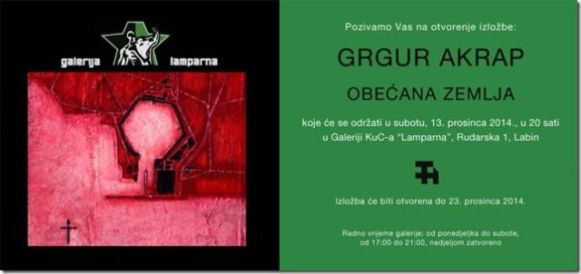 U ciklusu izložbi `Umjetnost i kaos` ove subote Izložba Grgura Akrapa u Galeriji `Lamparna`
