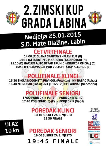 U nedjelju završni dan futsal turnira 2. Zimski Kup Grada Labina