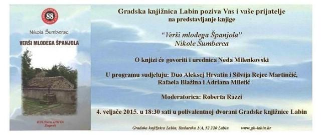 Predstavljanje knjige mladog labinskog pjesnika Nikole Šumberca