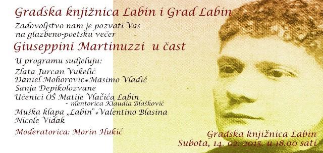 """Glazbeno-poetska večer """"Giuseppini Martinuzzi u čast""""  u suboru 14. 02. 2015 u Gradskoj knjižnici Labin"""