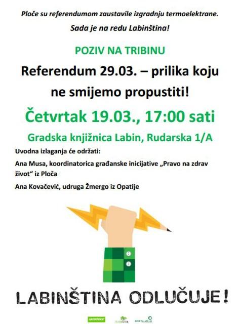 Poziv na tribinu 19.03.2015.: Referendum 29.03. o Plominu C – prilika koju ne smijemo propustiti!