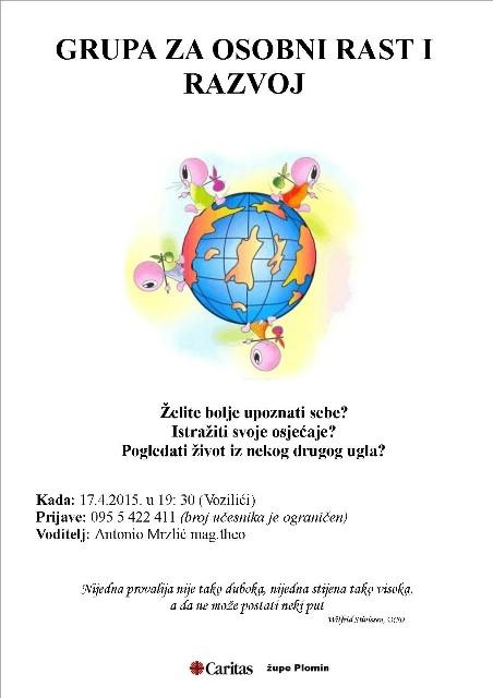 Caritas župe Plomin poziva zainteresirane za sudjelovanje u Grupi za osobni rast i razvoj