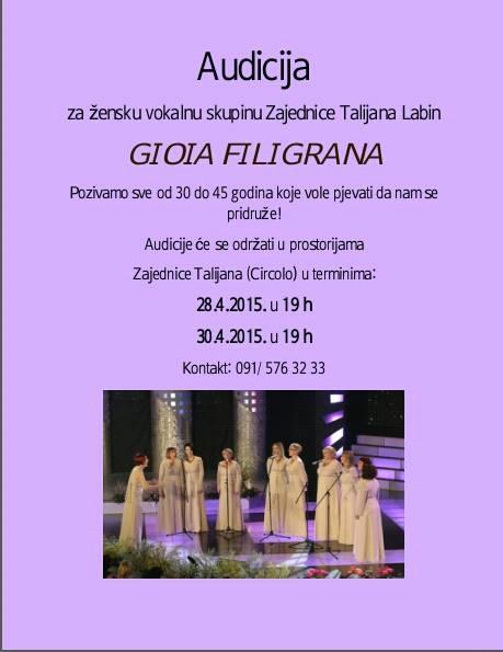 Audicije za žensku vokalnu skupinu `Gioia Filigrana`