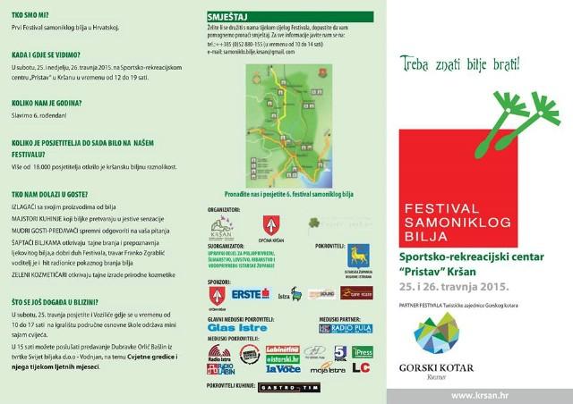 [PROGRAM] 6. Festival samoniklog bilja 2015.  25. i 26. travnja  u Kršanu