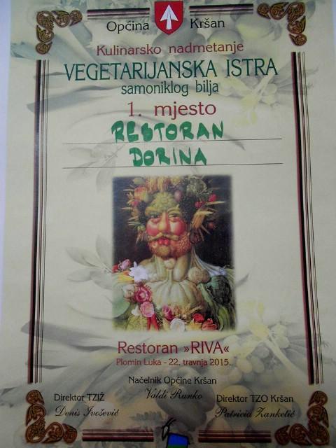 Restoran Dorina iz Plomina pobjednik Vegetarijanske Istre