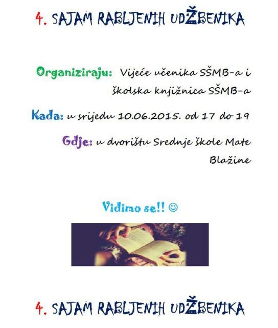 4. Sajam rabljenih udžbenika 10. lipnja 2015. u dvorištu Srednje škole Mate Blažine Labin
