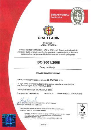 Uspješno provedeno recertificiranje Sustava upravljanja kvalitetom ISO 9001 u Gradu Labinu