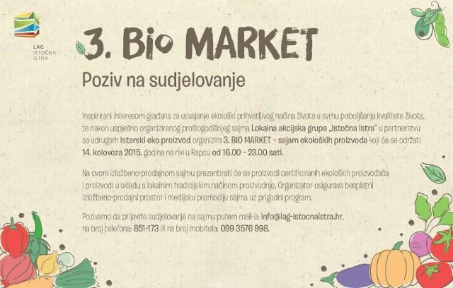 [Poziv na sudjelovanje] 3. BIO MARKET- sajam ekoloških proizvoda  u Rapcu - prijave do 30. lipnja 2015.