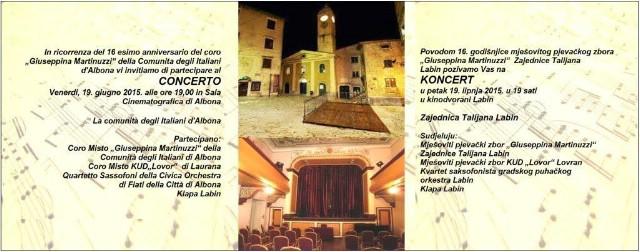 Koncert povodom 16. godišnjice mješovitog pjevačkog zbora `Giuseppina Martinuzzi` Zajednice Talijana