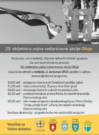 Labin: 2. kolovoza obilježavanje 20. obljetnice vojno-redarstvene akcije Oluja - Program