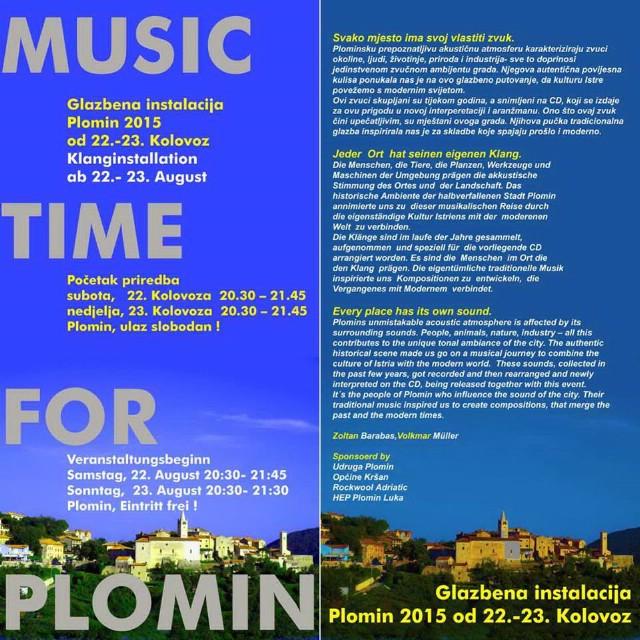 Music Time for Plomin 2015. glazbeno - poetski performans 22. i 23. kolovoza 2015.