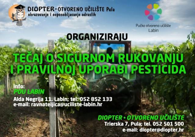 [Obavijest i poziv] Edukacija za osposobljavanje za održivu uporabu pesticida pri POU Labin počinje 22. 10. 2015.