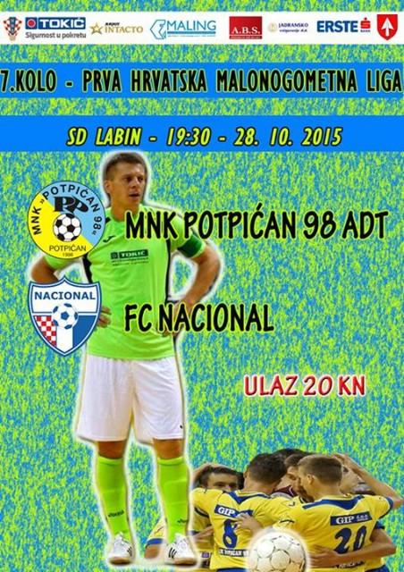 NAJAVA PRVE HMNL/LABIN: MNK Potpićan 98 ADT-FC Nacional (SRIJEDA / 19:30H)