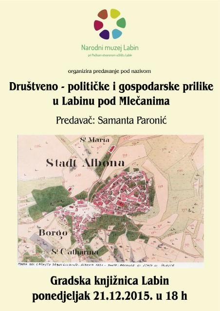 Predavanje Samante Paronić o Društveno-političkim i gospodarskim prilikama u Labinu pod Mlečanima