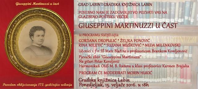 Glazbeno poetska večer Giuseppini Martinuzzi u čast obilježavanja 172. godišnjice rođenja