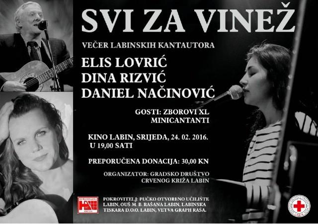 Humanitarni koncert `Svi za Vinež` - Večer labinskih kantautora - 24. 02. 2016. u Kinu Labin