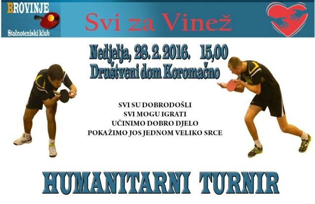 Humanitarni Turnir U Stolnom Tenisu `Svi Za Vinež`