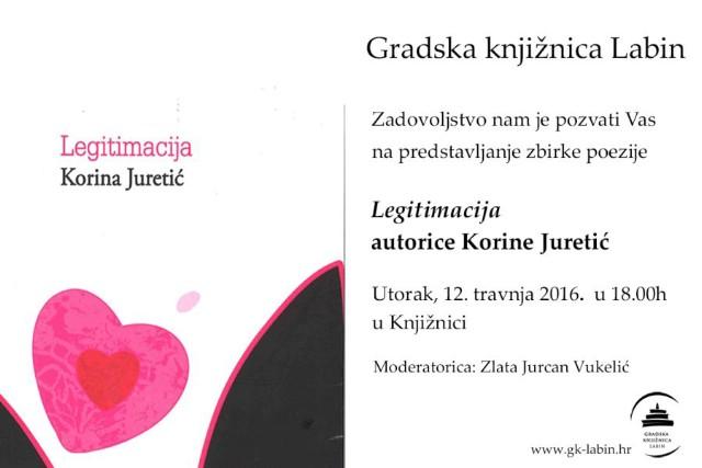 """Danas predstavljanje zbirke poezije """"Legitimacija"""" Korine Juretić u Gradskoj knjižnici Labin"""