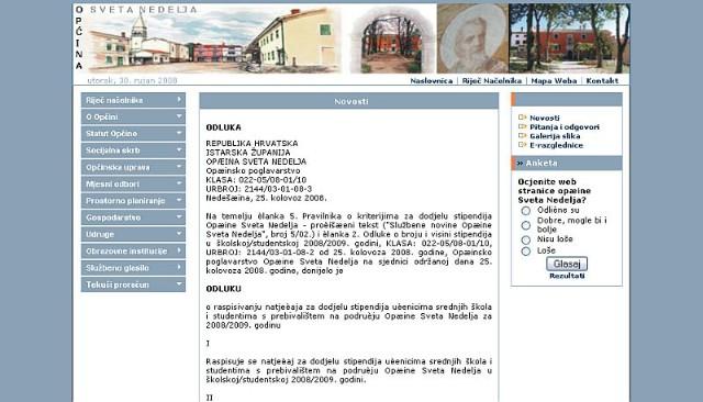 Općina Sveta Nedjelja osvježava službene web stranice
