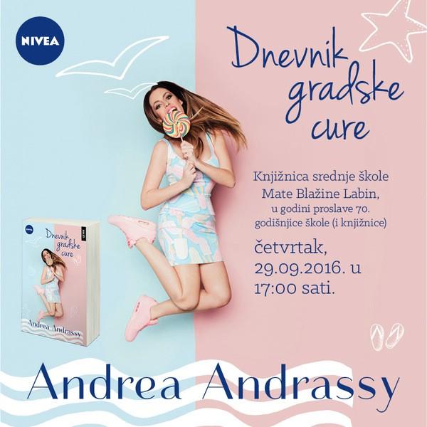 """Andrea Andrassy autorica """"Dnevnika gradske cure"""" gostuje u labinskoj Srednjoj školi"""