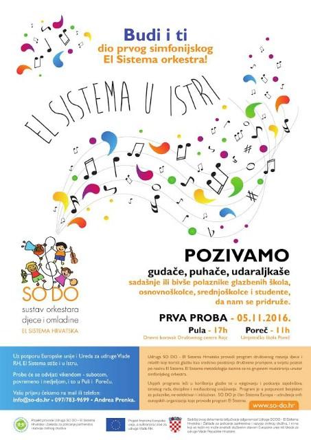 Poziv na besplatno sudjelovanje: Popčinju probe El Sistema u Istri