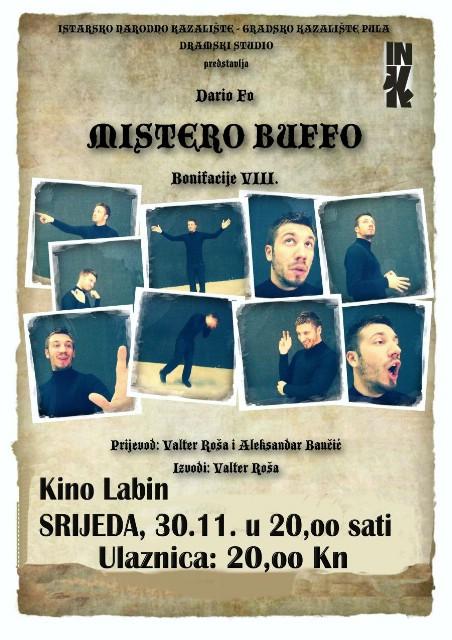 Predstava  `Mistero Buffo`zbirka satiričnih monologa, INK u Kinu Labin 30.11.2016