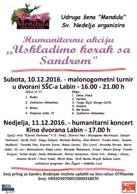 Humanitarna akcija za Sandru Brubnjak 10. i 11. prosinca 2016