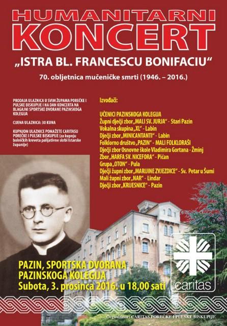 Izvođači i iz Labina danas na humanitarnom koncertu ''Istra bl. Francescu Bonifaciu'' u Pazinu