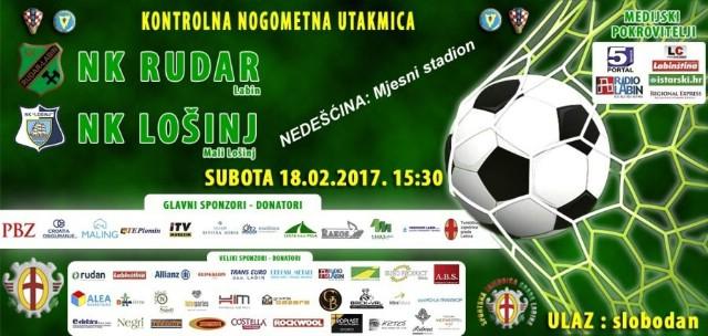 [POZIV] NK Rudar-NK Lošinj 18.2.2017. godine stadion Nedešćina - ulaz besplatan