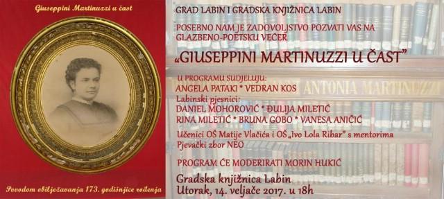 Glazbeno poetski program Giuseppini Martinuzzi u čast 14.2.2017. u Gradskoj knjižnici Labin