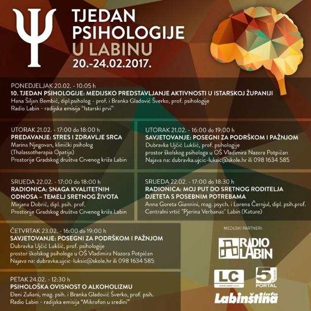 Tjedan psihologije u Labinu 20.- 24. 2. 2017. - Program