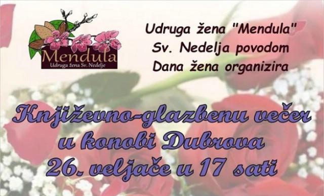 Udruga žena Mendula organizira u nedjelju književno glazbenu večer