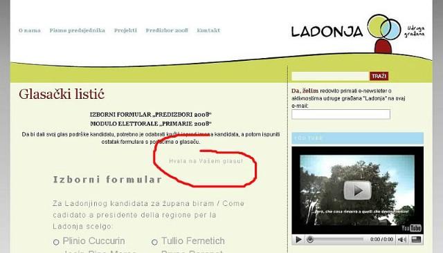 Online glasanje za Ladonjine kandidate za istarskog župana farsa